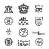Set of bike monochrome label — Stock Vector