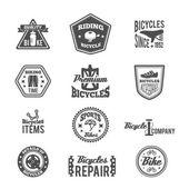 Set of bike monochrome label — Stok Vektör