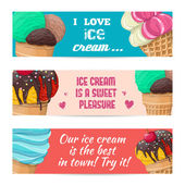 Set of banners with ice-cream — Stock Vector