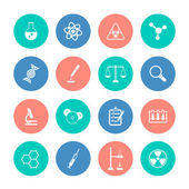 Chemistry icons on color circles — Stock Vector