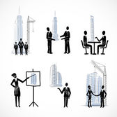 Set of the business people with buildings — Stock Vector
