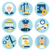 Law justice police icons — Vecteur