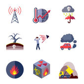 Pollution icons set flat — Vecteur