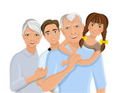 Grandparents and grandchildren — Stock Vector