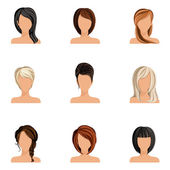 Girl hair style set — Vector de stock