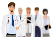 Doctor with medical staff — Stockvector