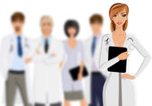Doctor with medical staff — Vector de stock