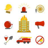 Firefighting icons flat — Stock Vector