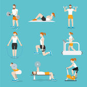 People gym exercises icons set — Stock Vector