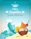 Surfing competition poster — Stock Vector