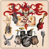 Rockmuziek gekleurde schets set — Stockvector