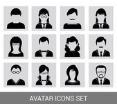 Black avatar icon set — Stock Vector