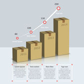 Carton box growth infographic — Vector de stock