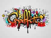 Graffiti characters composition print — Stock Vector
