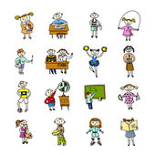 Set of doodle children — Stock Vector