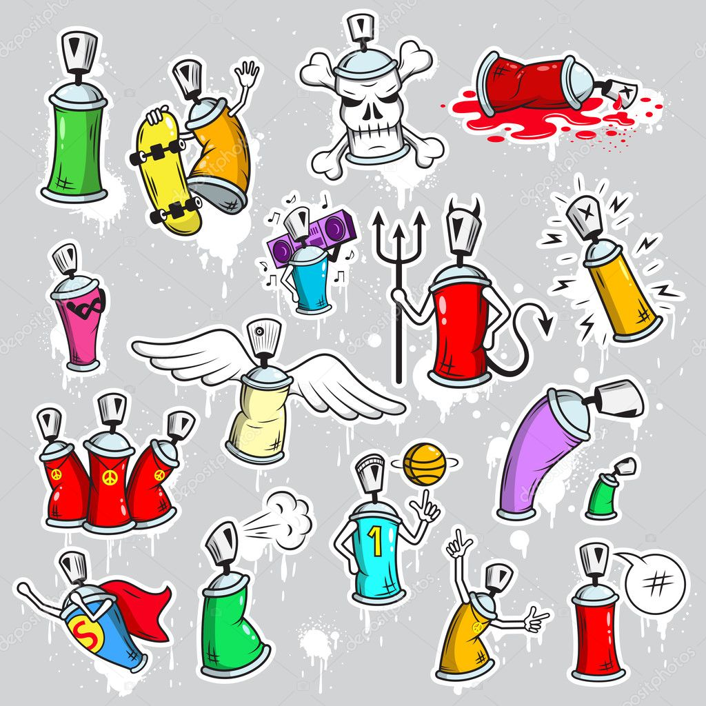 Graffiti characters icons set — Stock Vector © macrovector ...