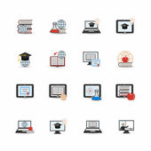 Online education icon flat — Stock Vector