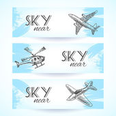 Aircraft icons banners sketch — Stock Vector
