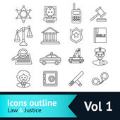 Law and Justice Icons Set — Stock Vector