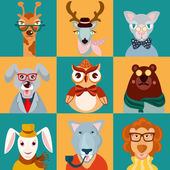 Animal hipsters icons flat — Stock Vector