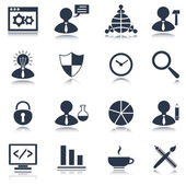 SEO icons set black — Stock Vector