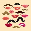 Lips and Mustaches — Stock Vector #50260793