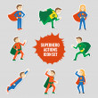 Постер, плакат: Set of superheroes stickers