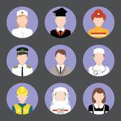 Profesiones avatar iconos planos establecidos — Vector de stock