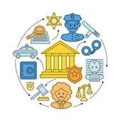 Concetto di diritto e giustizia — Vettoriale Stock