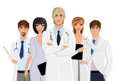 Doctor with medical staff — Stock Vector