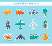 Aircraft icons stickers — Stok Vektör