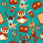 Animal hipsters seamless background — Stock Vector