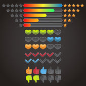 Colorful rating icons set — Stock Vector