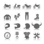 установить мотоцикл иконки — Cтоковый вектор