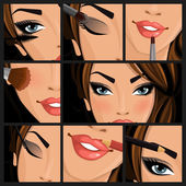 Make-up beauty woman — Stock Vector