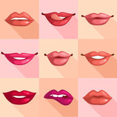 Set of Lips — Vector de stock