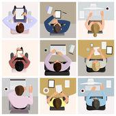 Los trabajadores de oficina de negocios — Vector de stock