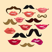 Lips and Mustaches — Stock Vector