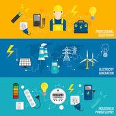 Conjunto de línea de generación de energía bandera — Vector de stock
