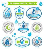 Set of water drops label — Stock Vector