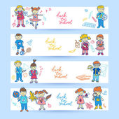 Set of banners with kids — Stock Vector