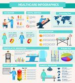 Conjunto de médicos infografía — Vector de stock