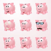 Piggy bank emotions — Stock Vector