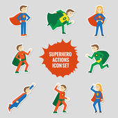 Set of superheroes stickers — Stock Vector