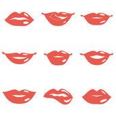 Set di labbra — Vettoriale Stock