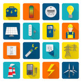 Electricity Energy Icons Set — Vector de stock