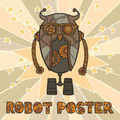 Hipster robot design — Stock Vector