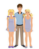 Brother and sisters — Stock Vector