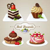 Sweets cakes dessert set — Stock Vector
