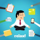 Businessman Yoga Relaxing — Stock Vector